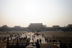 Crowd inside the Forbidden City Beijing China. Forbidden city Beijing China. Travel in winter 2015 Royalty Free Stock Photo