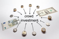 Crowd investment dollar euro pound Stock Photos