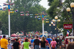 Crowd at Iowa State Fair. DES MOINES, IA /USA - AUGUST 10: Attendees at the Iowa State Fair. Thousands of people filling the midway at the Iowa State Fair on Royalty Free Stock Photography