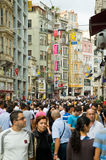 Crowd in Istiklal Avenue in the Beyoglu district. ISTANBUL - SEPTEMBER 11: crowd in Istiklal Avenue in the Beyoglu district -is one of the most famous avenues in stock images