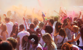 Crowd at IV Festival de los colores Holi Barcelona Royalty Free Stock Images