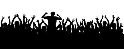 Crowd of jubilant people silhouette. Sports fans. People applaud. Concert, party, disco. Crowd of jubilant people silhouette. Sports fans. People applaud Stock Images