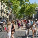 A crowd in La Rambla in Barcelona, Spain Royalty Free Stock Photos