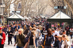Crowd at La Rambla, Barcelona. Spain Stock Image