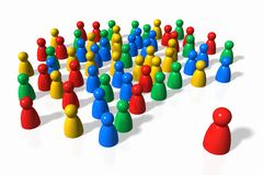 The Crowd and the Leader. Social relations described in color figures stock illustration