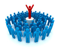 Crowd and leader concept  3d illustration Royalty Free Stock Images