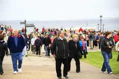 Crowd leaves John O'Groats after event Stock Photography