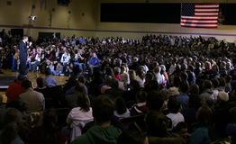 Crowd listening to Barak Obama Stock Photo