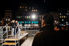 Crowd listening to speach in center of Strasbourg. STRASBOURG, FRANCE - NOV 18, 2015: Crowd listening to speach in center of Strasbourg, in solidarity for Stock Photography