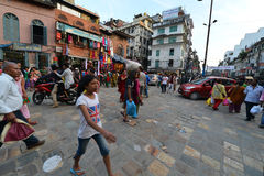 Crowd of local Nepalese people on the streets of Kathmandu Royalty Free Stock Image