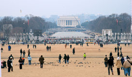 Crowd on the Mall. Crowd starting to assemble on the mall prior to inauguration of Barack Obama royalty free stock image