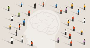 Crowd many people group with large head mind thinking together. intelligence wisdom brain health care memory disease. Vector royalty free illustration
