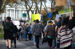 Crowd Marching at Trump Protest. Crowd marching in protest against Donald Trump to the city`s capitol in Salt Lake City, UT on November 26, 2016 Royalty Free Stock Photography