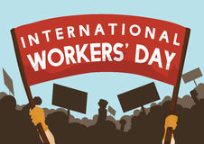 Crowd Marching in Workers' Day Celebration, Vector Illustration Stock Photography