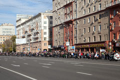 The crowd meets a cortege with fire of 2014 Olympic Games. 06 October 2013, Moscow, Russia Royalty Free Stock Photos