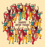 Crowd monkey new year color card Stock Image