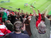 Crowd in motion. Watching the rugby between Wales & Italy at the Millennium Stadium Royalty Free Stock Photography