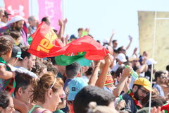 Crowd MUNDIALITO - PORTUGUESE Team 2017 Carcavelos Portugal. Portuguese Support during 2017 beach soccer MUNDIALITO in Portugal Cascais Carcavelos stock image