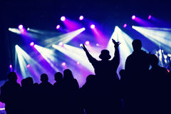 Crowd at a music concert, audience raising hands up Royalty Free Stock Image