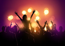 Crowd at a music festival. A group of young people in a crowd at a music festival concert. Vector illustration Stock Photo