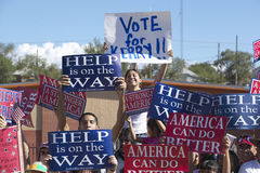 Crowd of native American Kerry Campaign supporters outside with signs,  Gallup, NM Stock Photo