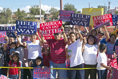 Crowd of native American Kerry Campaign supporters outside with signs,  Gallup, NM Stock Photos
