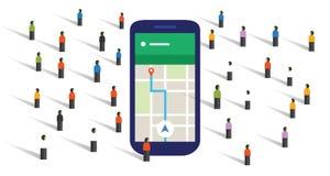 Crowd navigation map screen big smart-phone mobile public together direction Stock Image