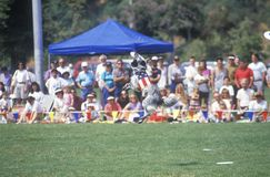 Crowd observing Canine Frisbee Contest Royalty Free Stock Image
