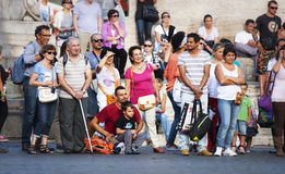 Free Crowd Of A Lots Of Tourists People Lined Up Stock Image - 45252901