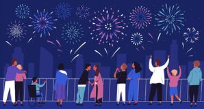 Free Crowd Of People Admiring Celebratory Fireworks At Night Cityscape Vector Flat Illustration. Citizens Of Megapolis Stock Image - 194548431