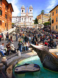 Crowd Of People In The Rome Stock Photo