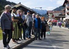 Crowd Oktoberfest in Gerlos Austria stock images