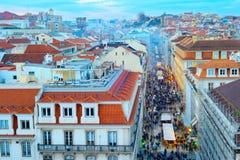Crowd, Old Town street, Lisbon Stock Photos