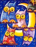 Crowd Of Owls Royalty Free Stock Photography