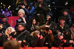 Crowd of paparazzi waiting for celebrities at Berlinale. Berlin, Germany - February 16, 2018: Crowd of paparazzi waiting for celebrities during the 68th edition Royalty Free Stock Image
