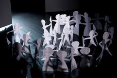 Crowd of paper people Stock Image