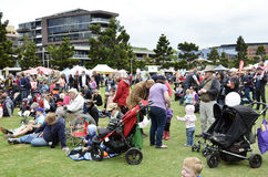 Crowd. Only part of a large crowd packed the Geelong Steampacket Gardens on the water front. It is all part of the Geelong Hospital Gala and family fun day Royalty Free Stock Photography