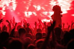 Crowd partying at concert stock photography