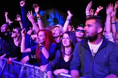 Crowd of partying people during a concert Royalty Free Stock Image