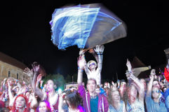 Crowd of partying people during a concert Stock Photography