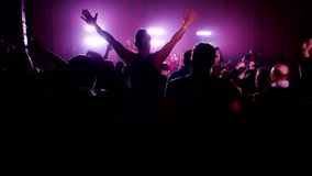 Crowd Partying At A Rock Concert. Hands Up, People, Fans Cheering Clapping Applauding, rock band performing on stage stock video