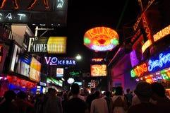 Crowd at Pattaya night walking street, Thailand Stock Photo