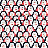 Crowd of penguins. Watercolor illustration Royalty Free Stock Photography