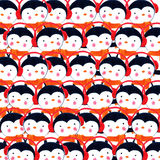 Crowd of penguins. Watercolor illustration Stock Images