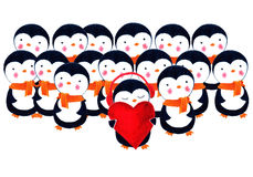 Crowd of penguins. Watercolor illustration. Crowd of penguins. One penguin in headphones holding a heart and listening to music. Love is music. Life is music vector illustration