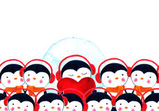 Crowd of penguins. Watercolor illustration Stock Image