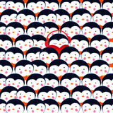 Crowd of penguins. Watercolor illustration Royalty Free Stock Photo