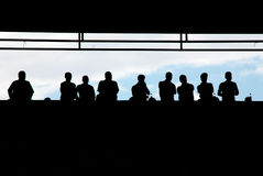 Crowd of people. Silhouette crowd on the stadium Stock Photography