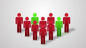 A crowd of people animation. Red and green. Desinfection stock video