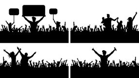 Crowd people applause concert vector silhouette set. Sports Championship fans. A large of people party. Protesting crowd Royalty Free Stock Photo